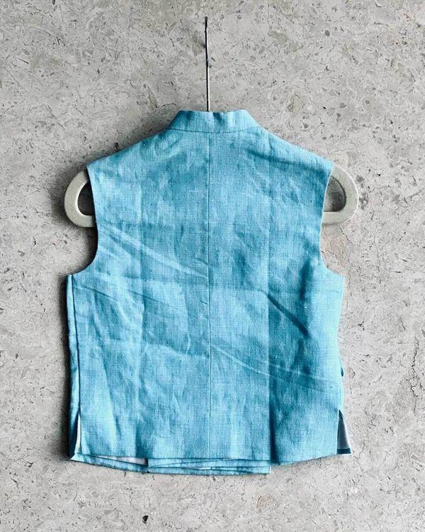 Vibrant blue floral embroidered jacket 1