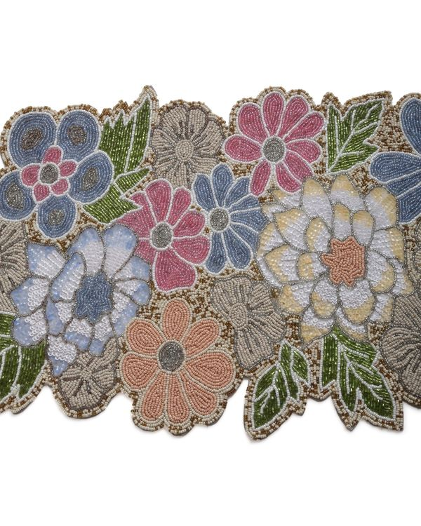Multicolour floral and leaf motif table runner 1