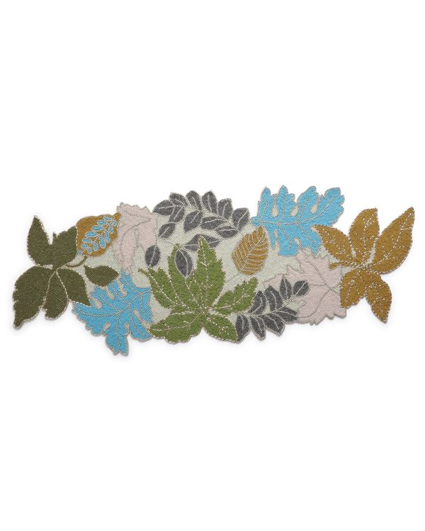 Leaf motif hand crafted beaded table runner 2