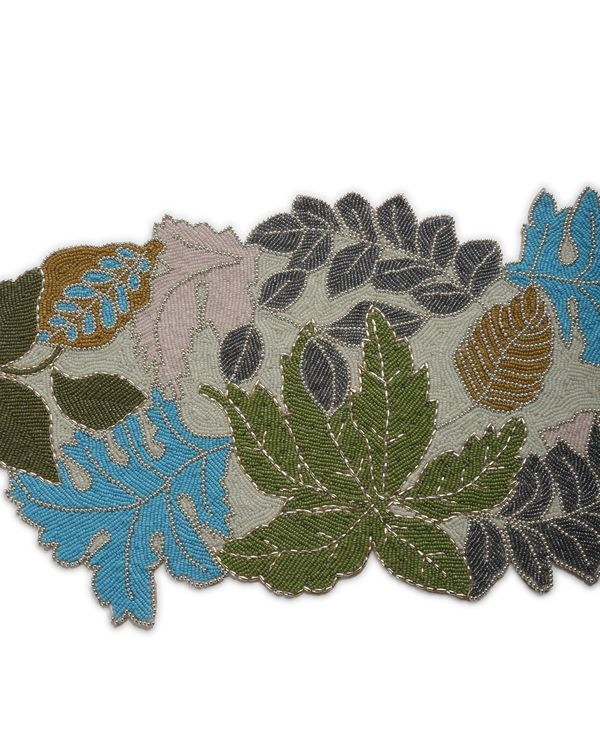 Leaf motif hand crafted beaded table runner 1