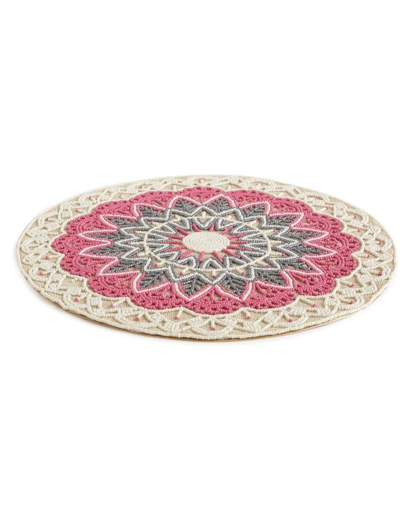 Pink hand beaded jute table mat 2