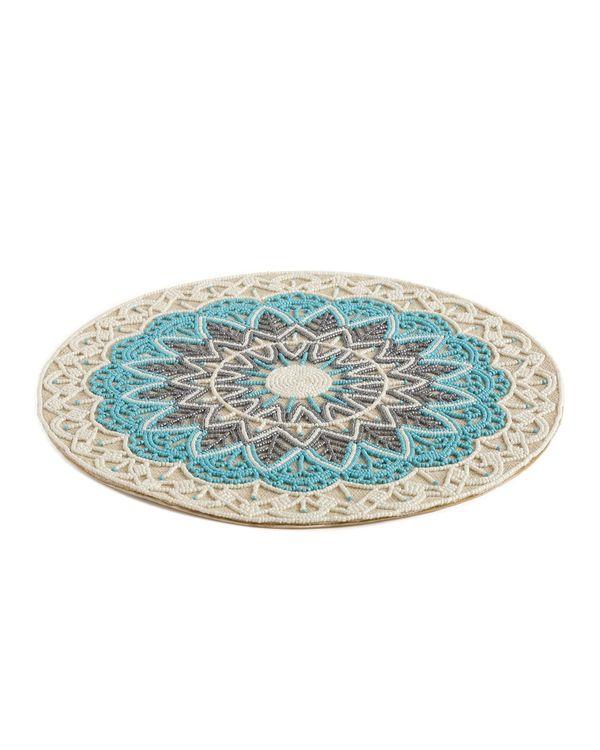 Blue hand beaded jute table mat 2