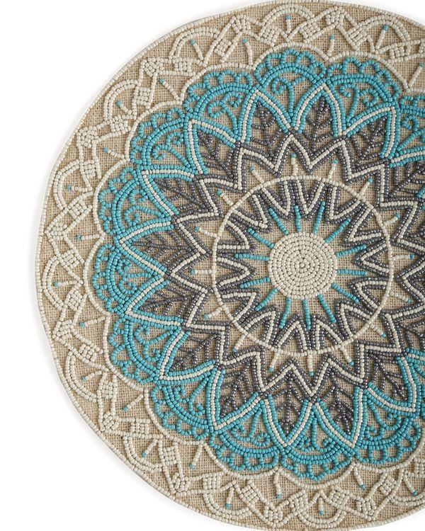 Blue hand beaded jute table mat 1