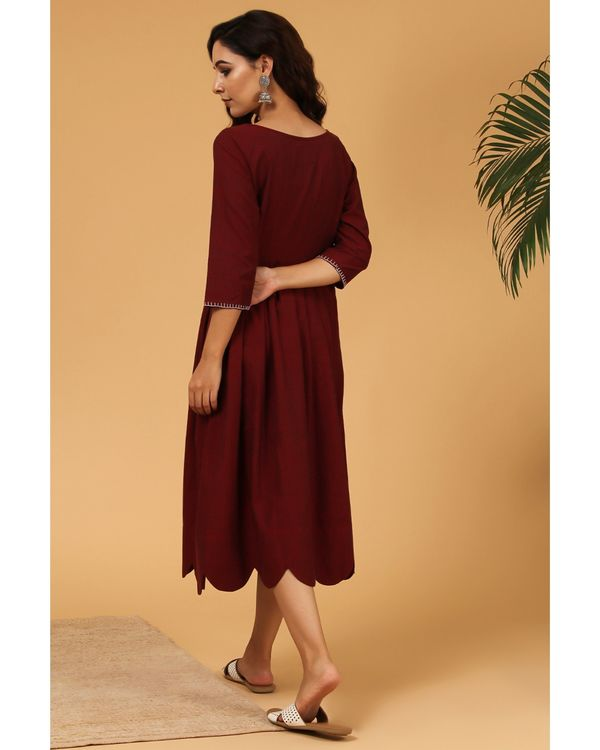 Maroon pleated scalloped dress 3