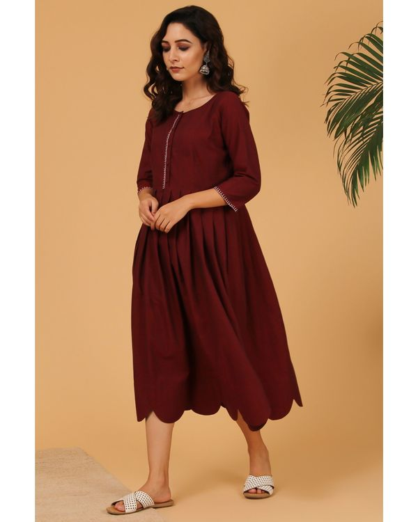 Maroon pleated scalloped dress 2