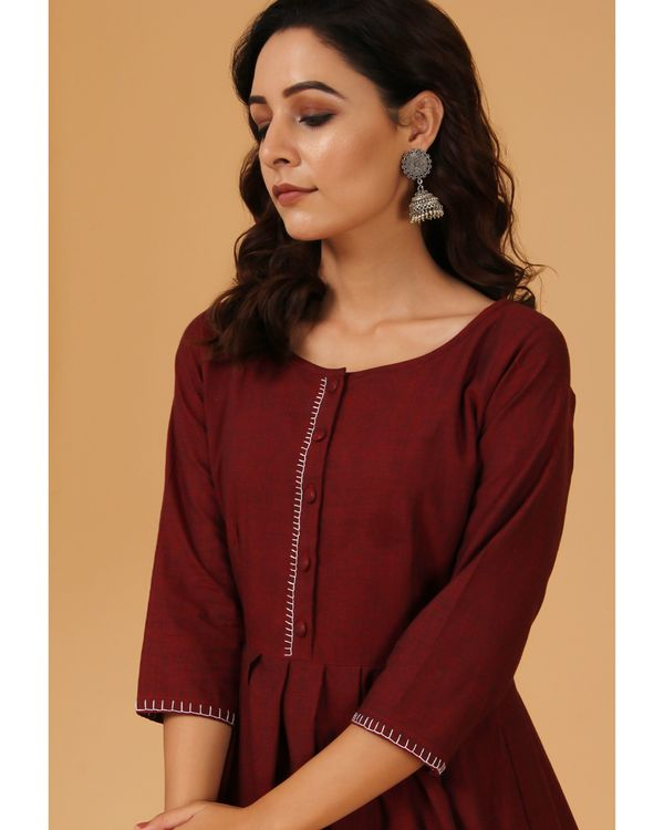 Maroon pleated scalloped dress 1