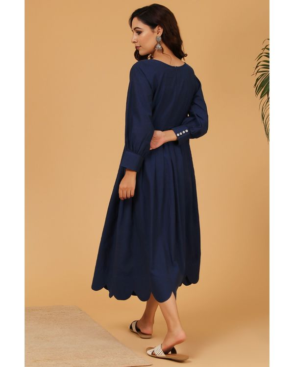 Navy blue pleated scalloped dress 3