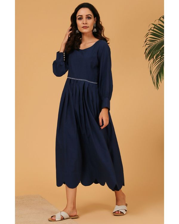 Navy blue pleated scalloped dress 2