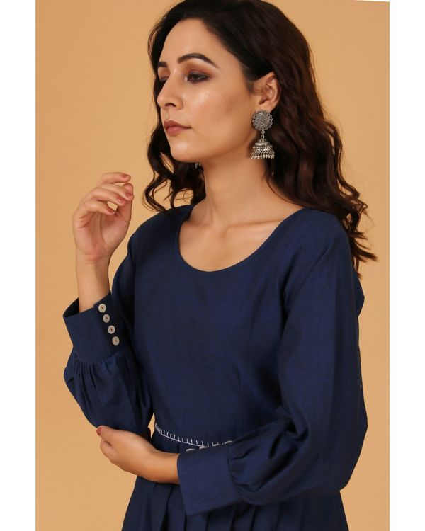 Navy blue pleated scalloped dress 1