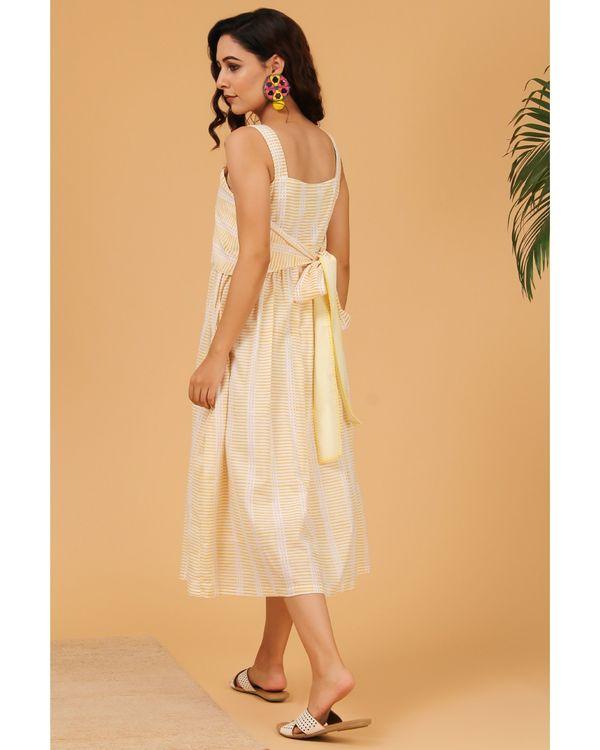 Light yellow striped tie-up dress 3