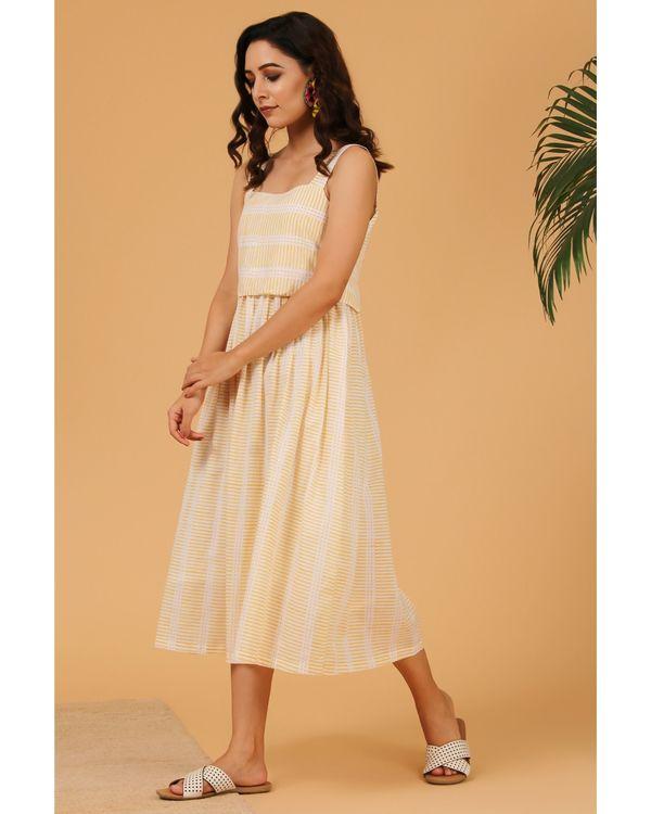 Light yellow striped tie-up dress 2