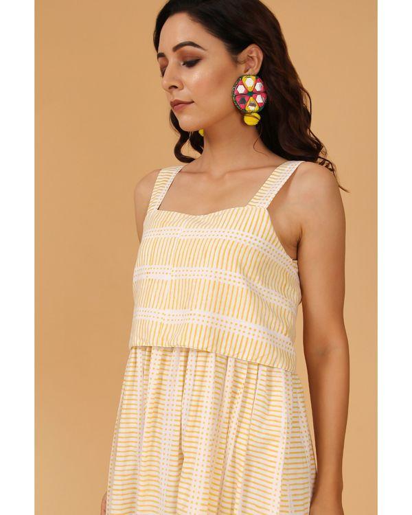 Light yellow striped tie-up dress 1