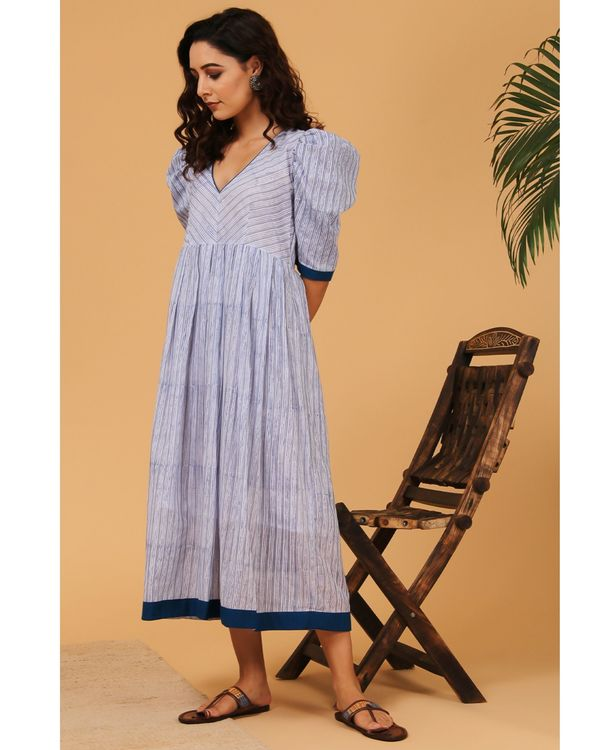 Blue and grey striped puffed sleeve dress 2