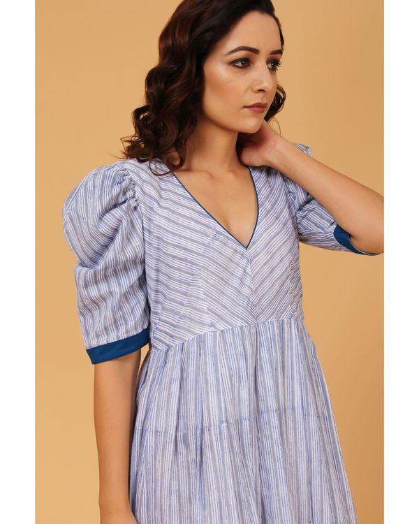Blue and grey striped puffed sleeve dress 1