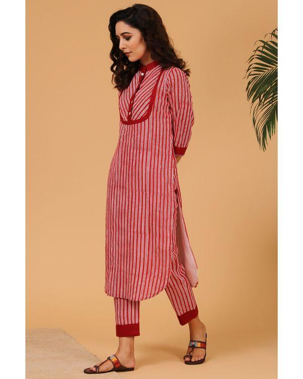 Maroon striped mandarin kurta and pants - Set Of Two 2