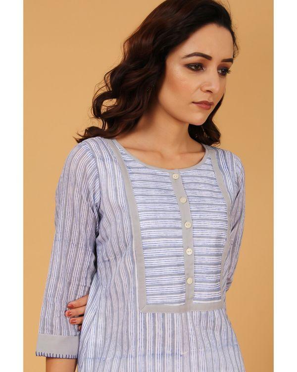 Blue and grey striped yoke kurta and pants - Set Of Two 1