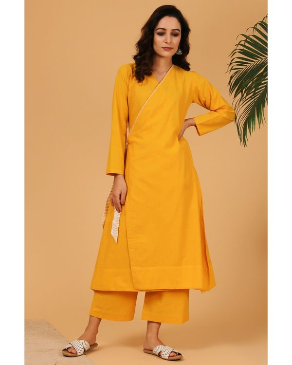 Mustard yellow embroidered angrakha kurta and pants with dupatta - Set Of Three 2
