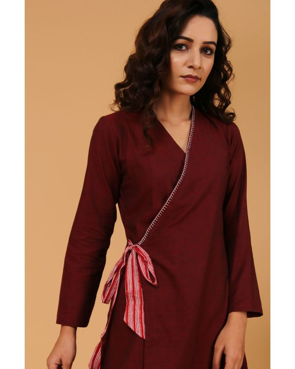 Maroon embroidered angrakha kurta and pants with dupatta - Set Of Three 1