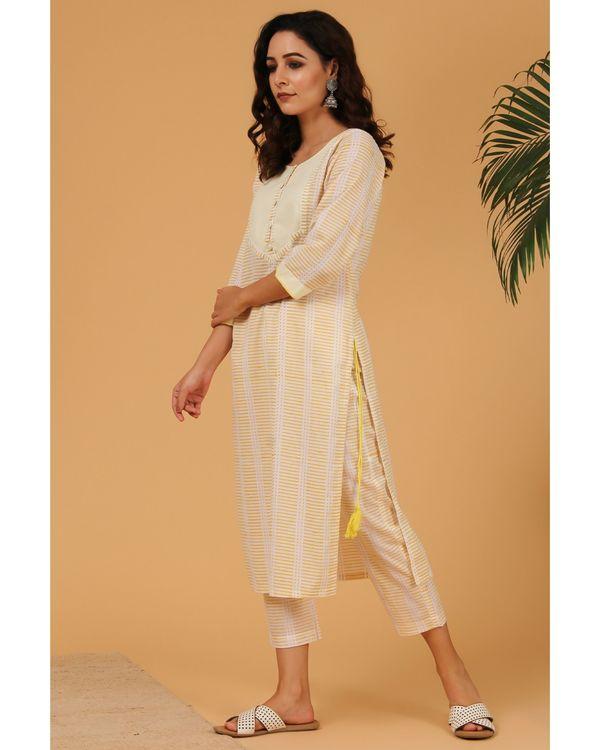 Light yellow hand block printed striped pants 1