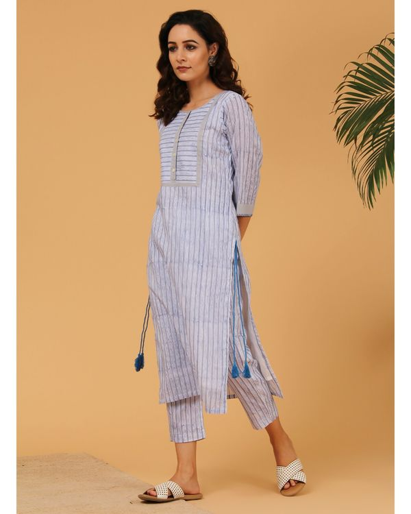 Blue and grey hand block printed striped yoke kurta 2