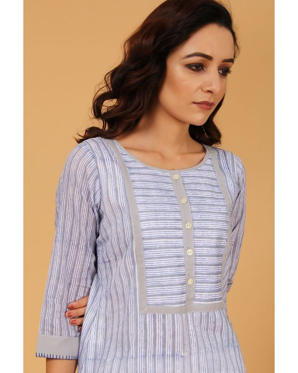 Blue and grey hand block printed striped yoke kurta 1