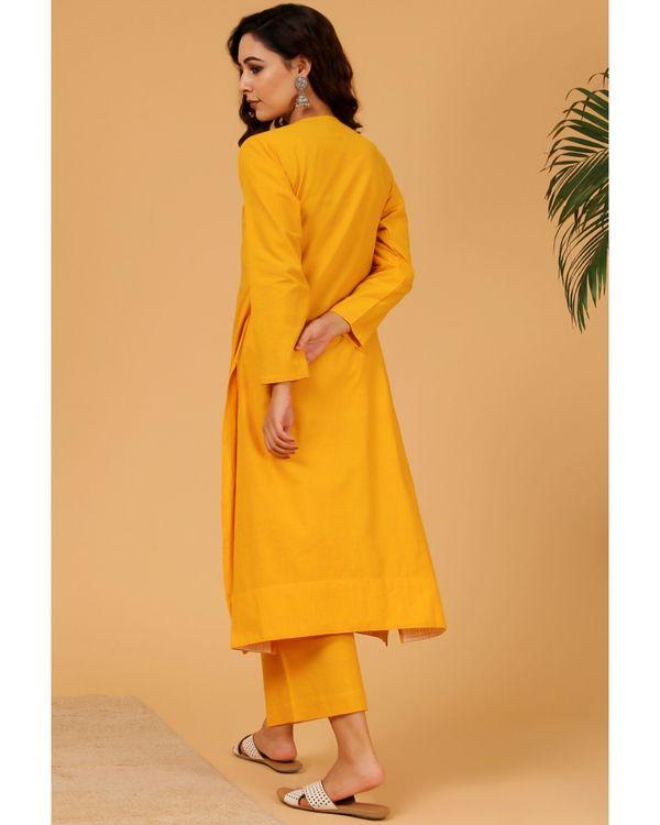 Mustard yellow hand embroidered angrakha kurta 3