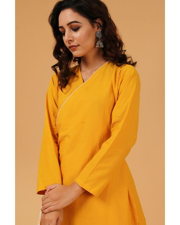 Mustard yellow hand embroidered angrakha kurta 1