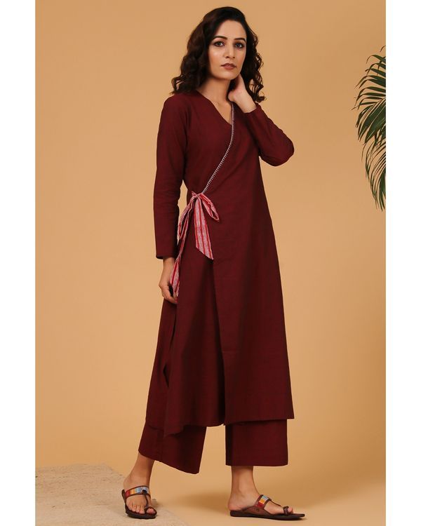 Maroon cotton pants with pockets 1