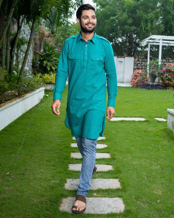 Turquoise checkered pathani kurta 3