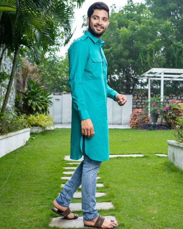 Turquoise checkered pathani kurta 2