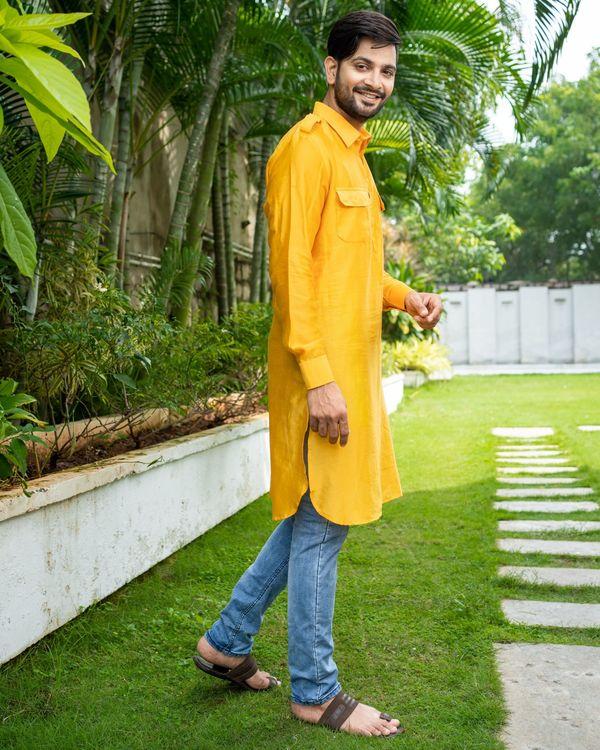 Mustard yellow chanderi pathani kurta 2