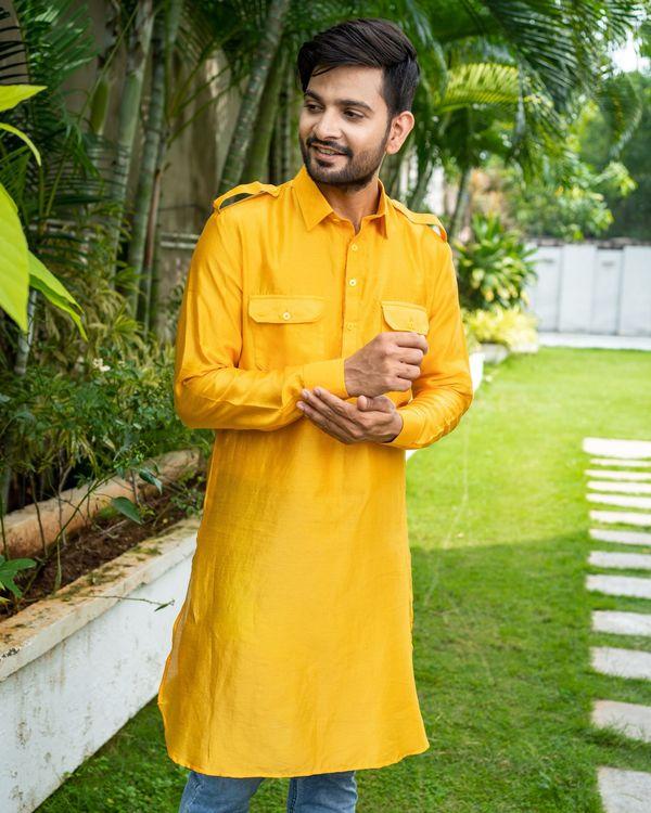 Mustard yellow chanderi pathani kurta 1