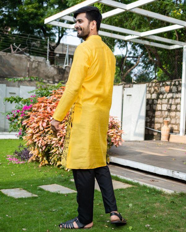 Sunshine yellow floral embroidered kurta with black pyjama - Set Of Two 3