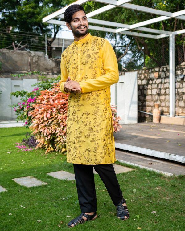 Sunshine yellow floral embroidered kurta with black pyjama - Set Of Two 2