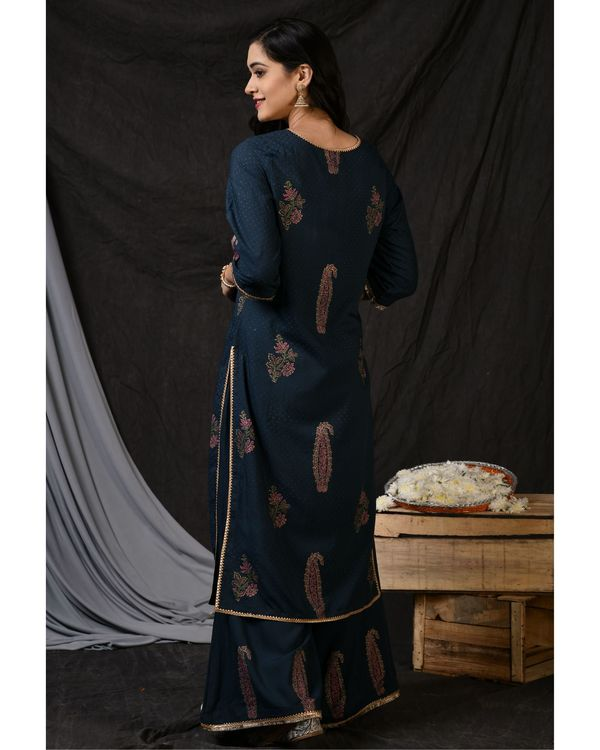 Teal blue floral printed kurta with palazzo and ombre dyed dupatta - Set Of Three 3