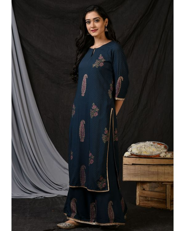 Teal blue floral printed kurta with palazzo and ombre dyed dupatta - Set Of Three 2