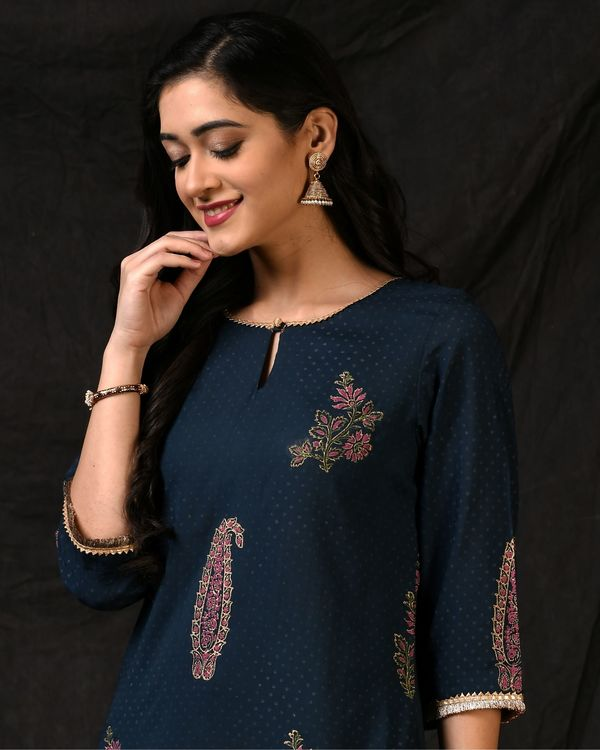 Teal blue floral printed kurta with palazzo and ombre dyed dupatta - Set Of Three 1