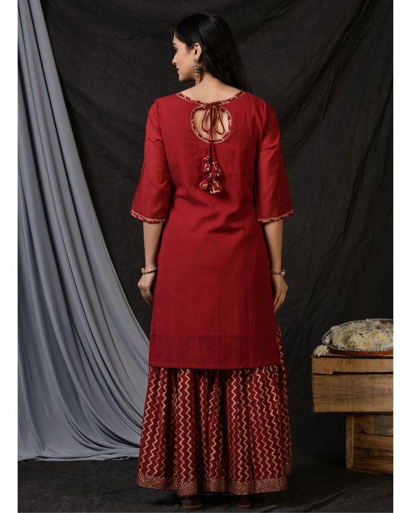 Maroon floral embroidered kurta with sharara and dupatta - Set Of Three 3