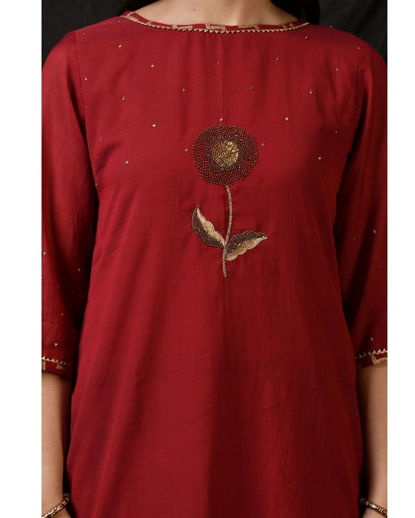 Maroon floral embroidered kurta with sharara and dupatta - Set Of Three 1