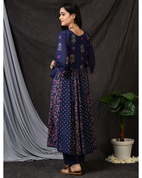 Blue printed gathered anarkali kurta with pants and dupatta - Set Of Three 3