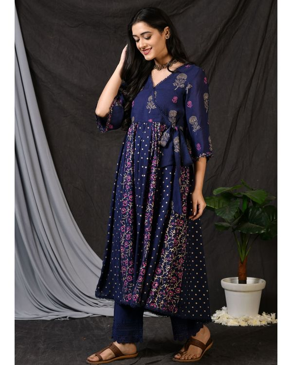 Blue printed gathered anarkali kurta with pants and dupatta - Set Of Three 2