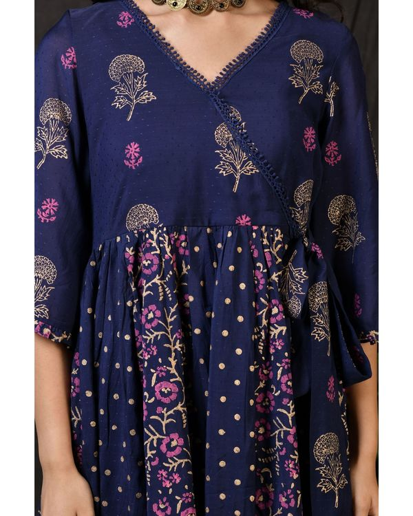 Blue printed gathered anarkali kurta with pants and dupatta - Set Of Three 1