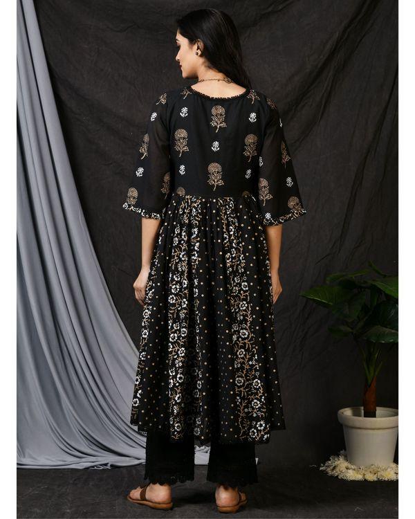 Black printed gathered anarkali kurta with pants and dupatta - Set Of Three 3