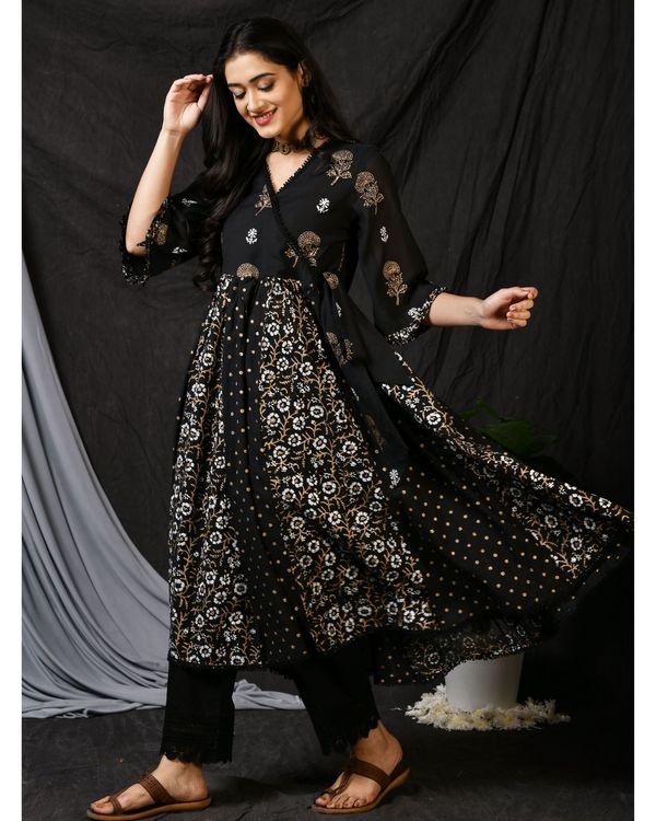 Black printed gathered anarkali kurta with pants and dupatta - Set Of Three 2