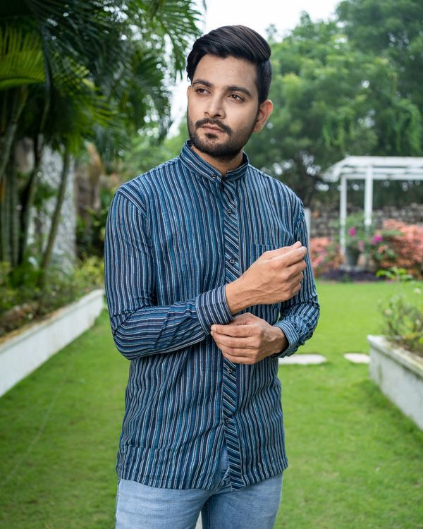 Blue striped printed cotton shirt 2