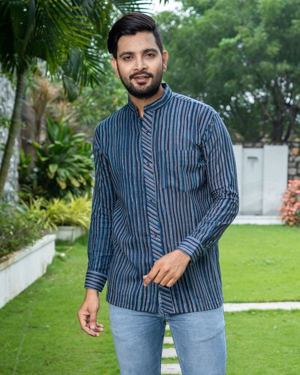 Blue striped printed cotton shirt 1