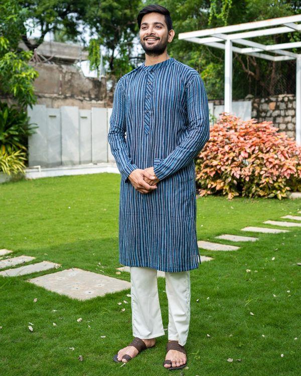 Blue striped cotton kurta 1