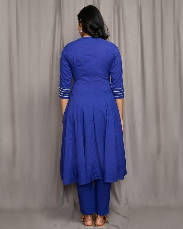 Royal blue kalidar angrakha kurta with gota detailing 2
