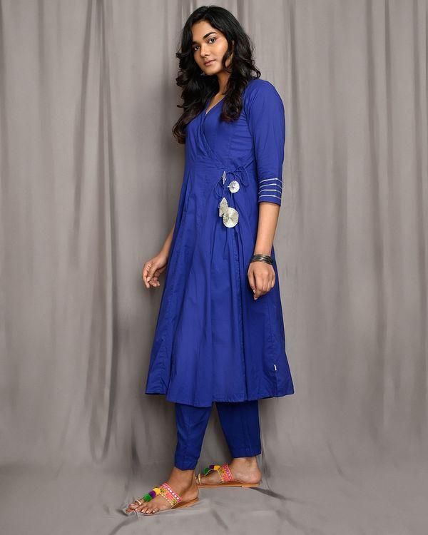 Royal blue kalidar angrakha kurta with gota detailing 1