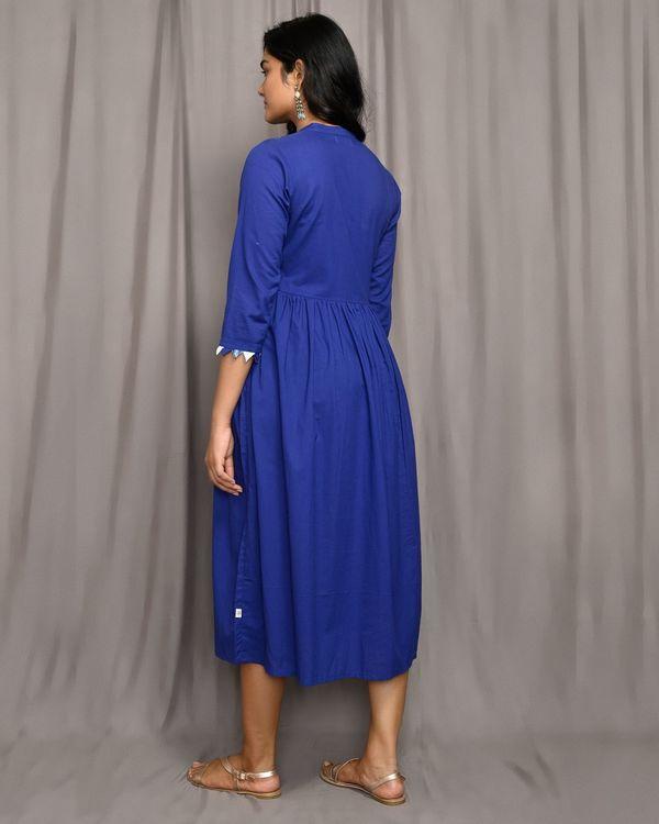 Royal blue gathered mandarin dress 2